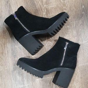 Zara black suede platform side zip ankle boots 38